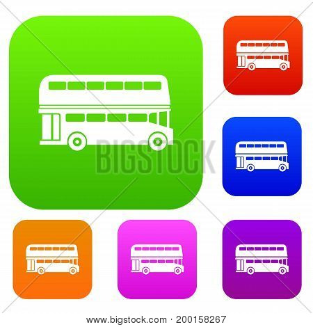 Double decker bus set icon in different colors isolated vector illustration. Premium collection