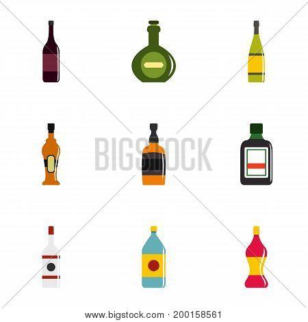 Types of bottle icon set. Flat style set of 9 types of bottle vector icons for web isolated on white background
