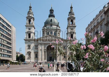 BUDAPEST, HUNGARY - AUGUST 5 2017: People in front of St. Stephen's Basilica in Budapest, Hungary