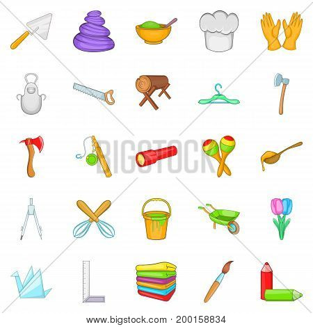 Make icons set. Cartoon set of 25 make vector icons for web isolated on white background