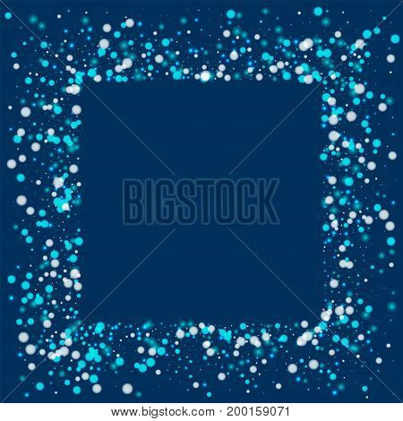 Beautiful Falling Snow. Square Messy Frame With Beautiful Falling Snow On Deep Blue Background. Vect