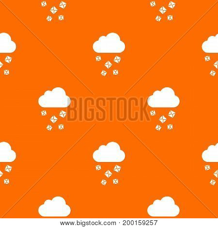 Cloud and hail pattern repeat seamless in orange color for any design. Vector geometric illustration
