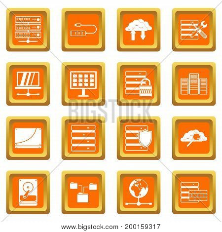 Database icons set in orange color isolated vector illustration for web and any design