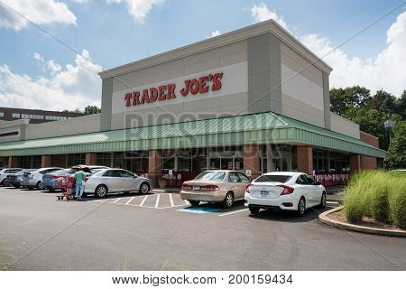 PITTSBURGH, PENNSYLVANIA, USA - AUGUST 17: Exterior of Trader Joe's grocery supermarket on August 17, 2017 in Pittsburgh, PA.  The chain is celebrating 50 years in August 2017.