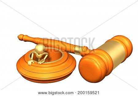 Legal Concept The Original 3D Character Illustration In A Hole
