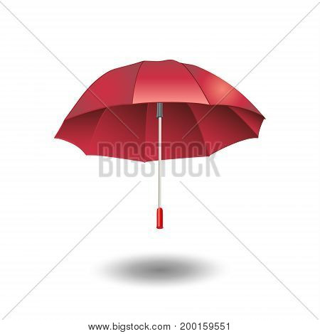 Umbrella red color. Umbrella vector illustration. Umbrella Fall symbol icon. Umbrella isolated on white background and shadow. Umbrella image.
