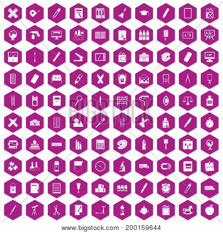 100 stationery icons set in violet hexagon isolated vector illustration