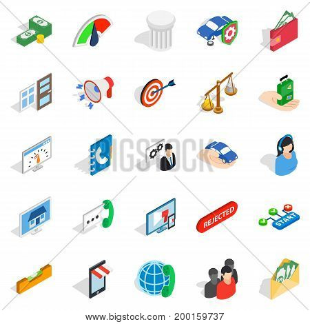 Cool idea icons set. Isometric set of 25 cool idea vector icons for web isolated on white background