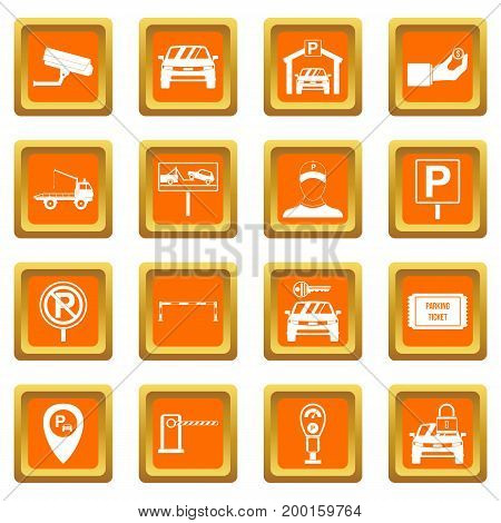 Parking set icons set in orange color isolated vector illustration for web and any design
