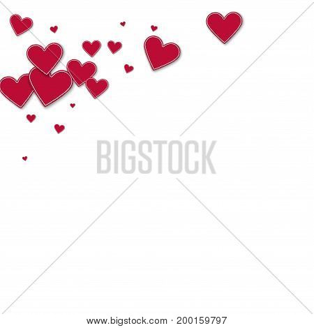 Cutout Red Paper Hearts. Top Left Corner On White Background. Vector Illustration.