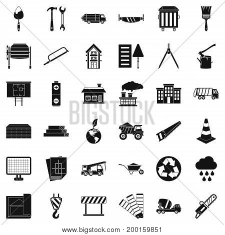 Construction material icons set. Simple style of 36 construction material vector icons for web isolated on white background
