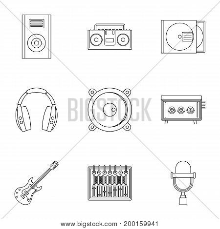 Music recording icon set. Outline style set of 9 music recording vector icons for web isolated on white background