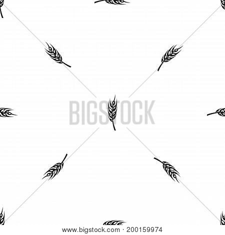 Barley spike pattern repeat seamless in black color for any design. Vector geometric illustration