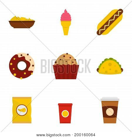 Snacks icon set. Flat style set of 9 snacks vector icons for web isolated on white background