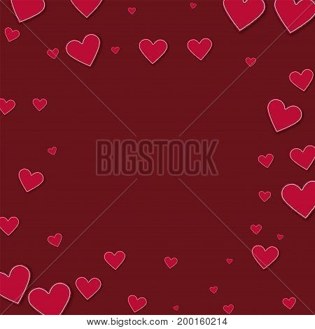 Cutout Red Paper Hearts. Square Scattered Frame On Wine Red Background. Vector Illustration.