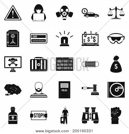 Fault icons set. Simple set of 25 fault vector icons for web isolated on white background