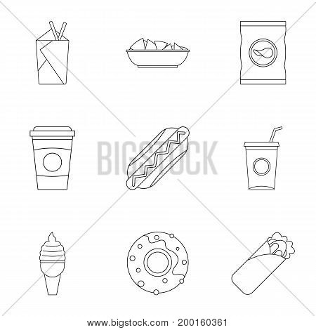 Unhealthy food icon set. Outline style set of 9 unhealthy food vector icons for web isolated on white background