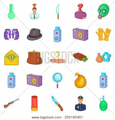 Perpetration icons set. Cartoon set of 25 perpetration vector icons for web isolated on white background