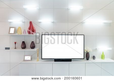 TV and shelf in living room Contemporary style. Wood furniture in white with decorative at home.