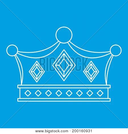 Prince crown icon blue outline style isolated vector illustration. Thin line sign