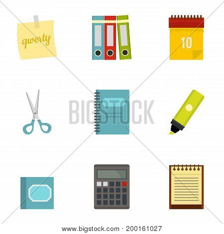 Office stuff icon set. Flat style set of 9 office stuff vector icons for web isolated on white background