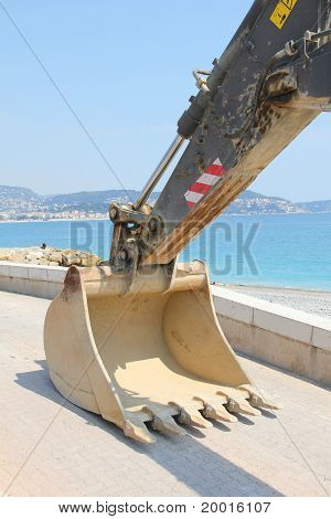 Bulldozer in a beach