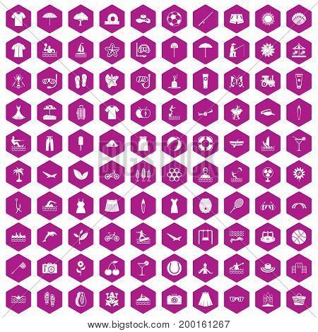100 summer icons set in violet hexagon isolated vector illustration