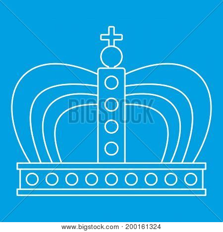 Monarchy crown icon blue outline style isolated vector illustration. Thin line sign