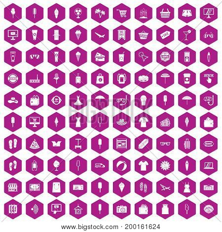 100 summer shopping icons set in violet hexagon isolated vector illustration