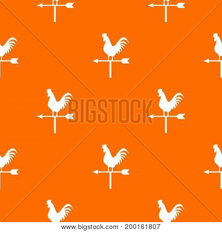 Weather vane with cock pattern repeat seamless in orange color for any design. Vector geometric illustration