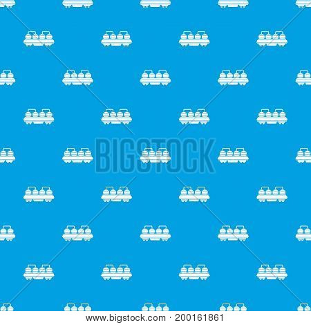 Rail wagon for construction materials pattern repeat seamless in blue color for any design. Vector geometric illustration