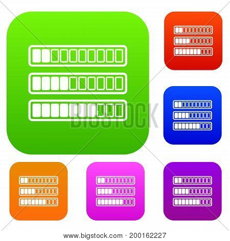 Sign horizontal columns download online set icon in different colors isolated vector illustration. Premium collection