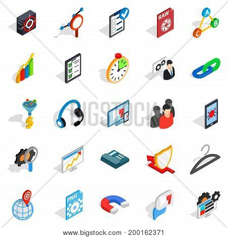 Guidance icons set. Isometric set of 25 guidance vector icons for web isolated on white background