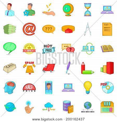 Digital development icons set. Cartoon style of 36 digital development vector icons for web isolated on white background