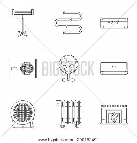 Electric heater icon set. Outline style set of 9 electric heater vector icons for web isolated on white background