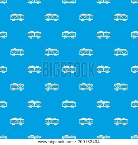 Train cargo wagon pattern repeat seamless in blue color for any design. Vector geometric illustration