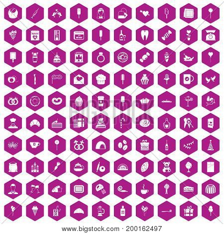 100 sweets icons set in violet hexagon isolated vector illustration