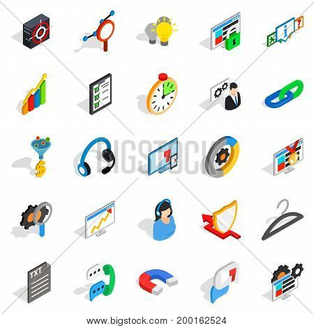 Cloud icons set. Isometric set of 25 cloud vector icons for web isolated on white background