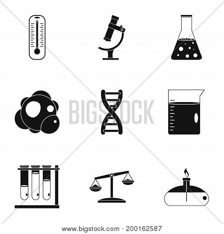 Chemistry science icon set. Simple style set of 9 chemistry science vector icons for web isolated on white background
