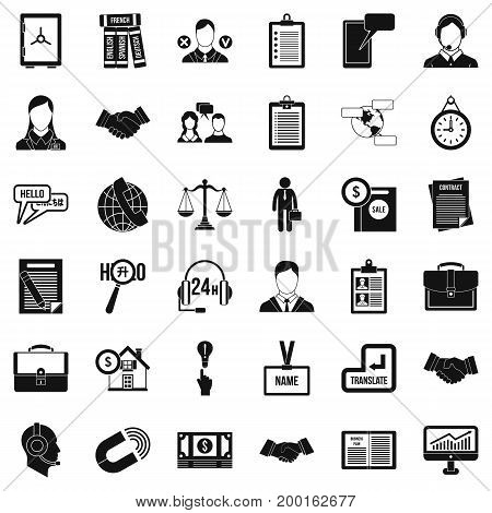 Work discussion icons set. Simple style of 36 work discussion vector icons for web isolated on white background