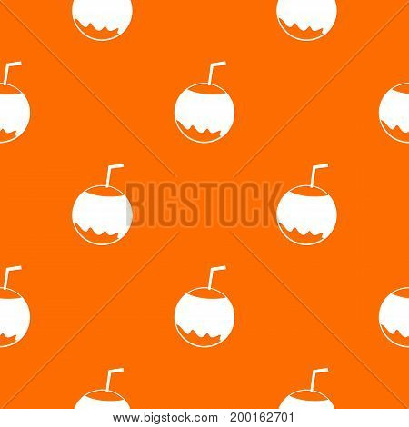 Coconut with straw pattern repeat seamless in orange color for any design. Vector geometric illustration