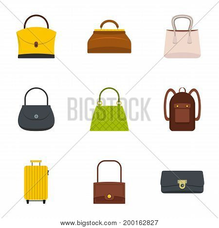 Bag types icon set. Flat style set of 9 bag types vector icons for web isolated on white background