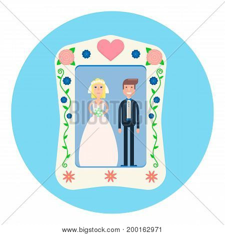 Vector illustration of a photo of a wedding couple in a frame.