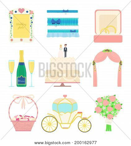 Wedding set of vector objects: cake bride and groom figures rings flowers equipage bridal garters photo frame bottle of champagne basket with rose petals