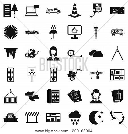 Professional dispatcher icons set. Simple style of 36 professional dispatcher vector icons for web isolated on white background