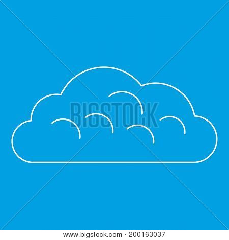Snow cloud icon blue outline style isolated vector illustration. Thin line sign