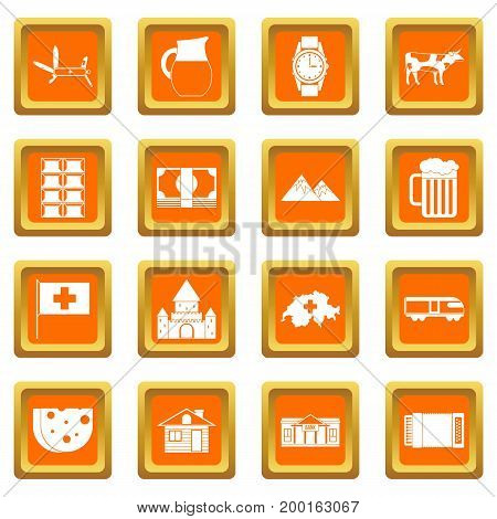 Switzerland icons set in orange color isolated vector illustration for web and any design