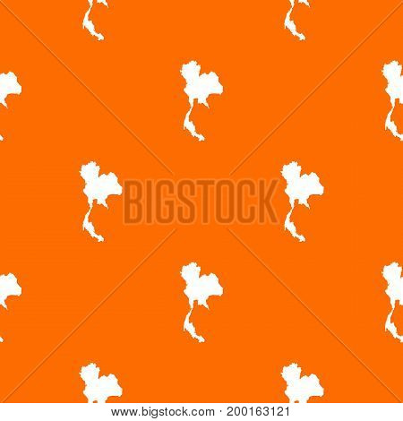 Thailand map pattern repeat seamless in orange color for any design. Vector geometric illustration