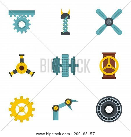 Mechanical gear icon set. Flat style set of 9 mechanical gear vector icons for web isolated on white background