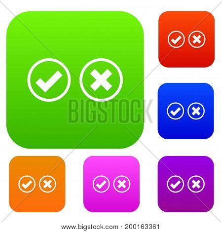 Tick and cross selection set icon in different colors isolated vector illustration. Premium collection